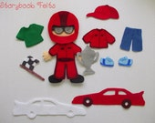Storybook Felts Felt My Little RaceCar Driver Doll Dress Up Set 16 PCS