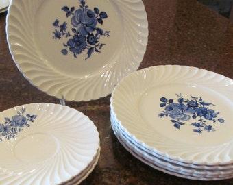 11 PCS.  K&G Luneville blue white china...Tradition Rose Bleu France plates dishes