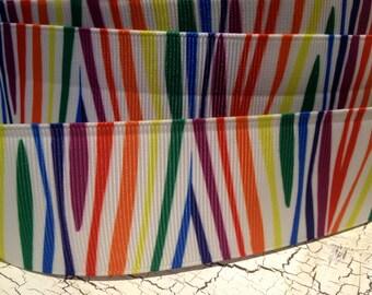 "3 yards 1.5"" NEON Rainbow Zebra Animal Print Grosgrain ribbon"