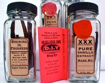DIY VANILLA EXTRACT Kit - Do It Yourself  - Endless Supply, Triple Strength, Just add liquor