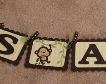 Its A Boy Monkey Banner, Baby shower banner