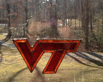Stained Glass Virginia Tech Logo Suncatcher