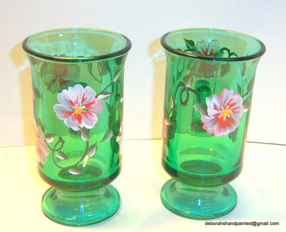 Upcycled green glass coffee cups hand by deborahshandpainted for Cool glass coffee mugs