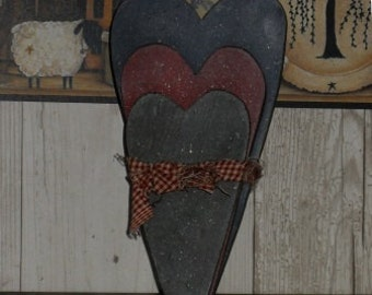 Primitive Stacked Hearts