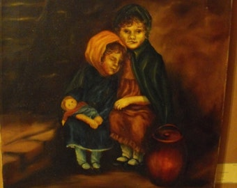 Original Antique Acrylic painting on canvas by Unknown artist but signed Franz, one of a kind