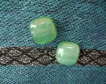 Green Fused Glass Post Earrings