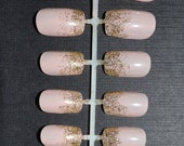 Gold glitter gradient hand painted false nail set