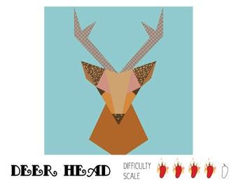 Deer Head paper pieced quilt pattern in PDF