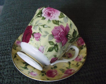 Vintage fine china floral tea cup and saucer from England