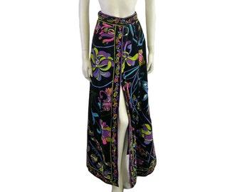 Vintage Emilio Pucci Velvet Skirt - Lily Print - 1970s