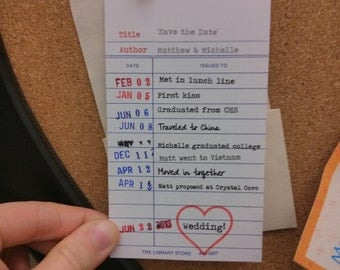 Library Card Save The Date Cards - Lot of 25 Cards
