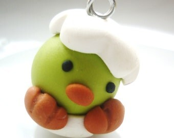 small easter green chick charm handmade with polymer clay