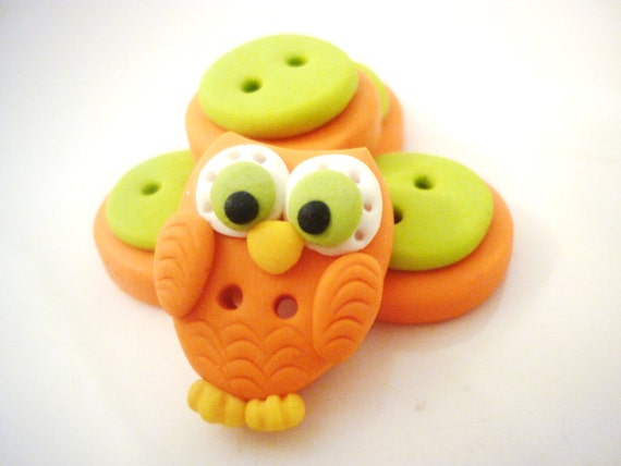 Owl Shaped Buttons Handmade With Polymer Clay From