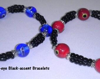 Evil-eye black-accent beaded bracelet