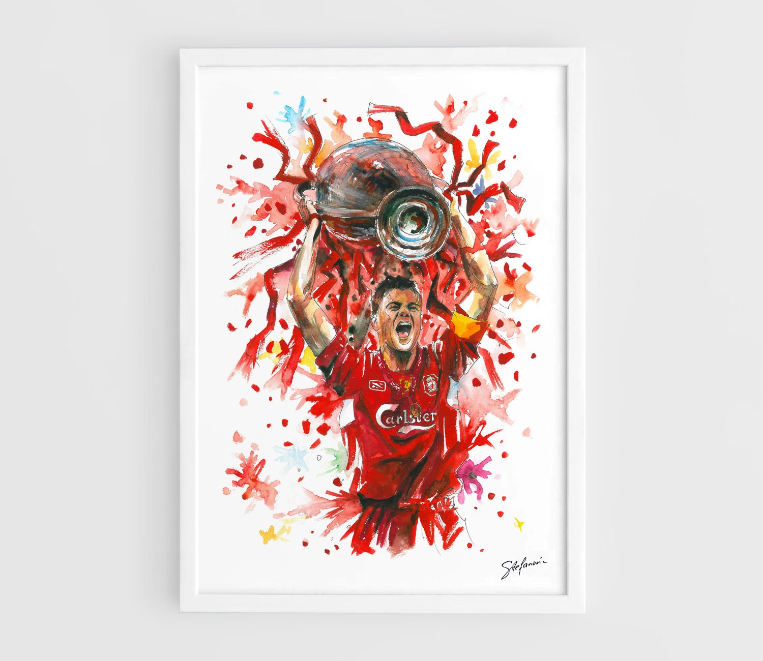 Steven gerrard liverpool fc a3 wall art print poster of for Wall art prints