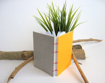 Travel coptic journal with coptic stitch binding, handcrafted small notebook with textile hard covers,120 blank pages