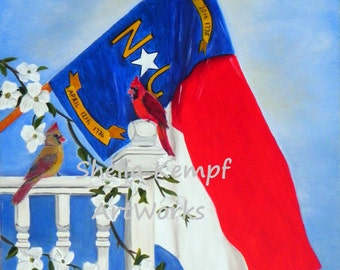 North Carolina Art Print of NC State Flag, Cardinal and Dogwood  - A State of Art Print