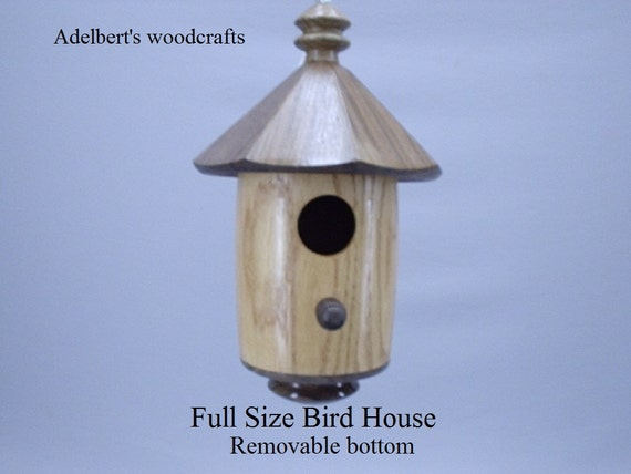 Handcrafted Round Lathe Turned Bird House For Sale.