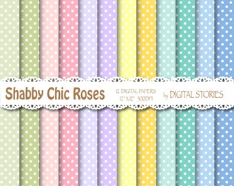 "Shabby Chic Digital Paper: ""SHABBY CHIC DOTS"" Shabby chic background with dots for scrapbooking, invites, cards"