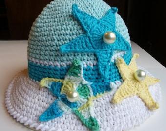 CROCHET CHILDREN PATTERNS, Crochet Hat, Hat Pattern, Starfish Sun Hat, Beach, Baby, Brims, Child, Marine, Ocean, Summer, Knitted, Sea Star