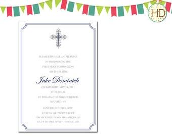 Cross Invitation, First Holy Communion Invitation, Communion Party, Christening Invitation, Baptism Invitation