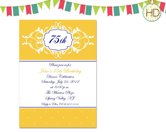 Party Invitation, 75th Birthday Invitation, Adult Birthday Invitation ...