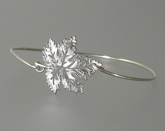 Maple Leaf Bangle Bracelet, Silver Bangle Bracelet, Maple Leaf Bracelet, Silver Bracelet, Silver bangle, Bridesmaid Jewelry (115S,)