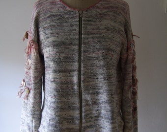 Hand-knitted Cardigan with coins decorations