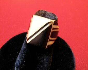 Prison Craft Ring: 1930's Deco - Bakelite Celluloid
