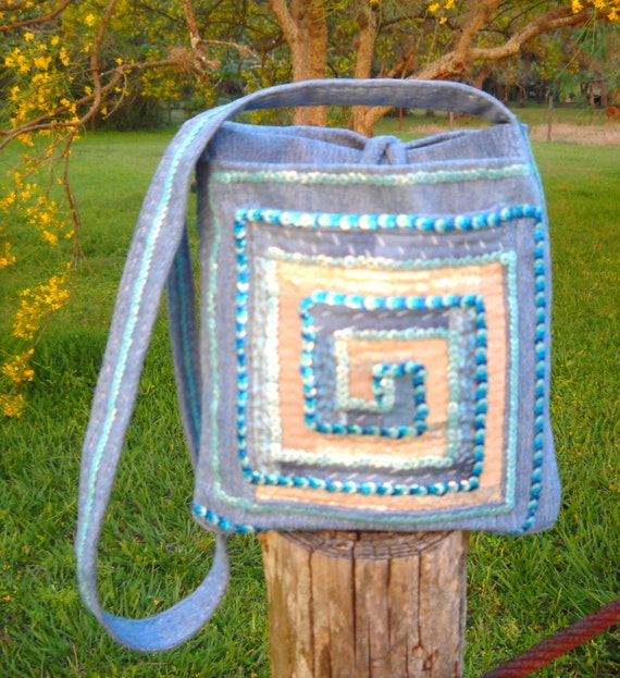 Quilted blue denim patchwork bag with sequins - Greek Wave design - upcycled denim