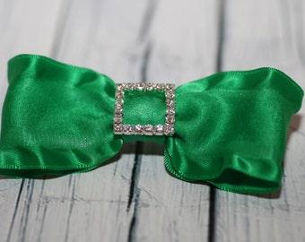 Emerald Green Double Ruffle Bow with Buckle Rhinestone