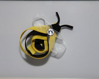 Bumble Bee Ribbon Sculpture Hair Clip, Bee Ribbon Sculpture, Bee Hair Clip