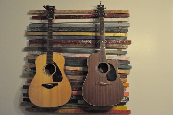 items similar to wall mount dual guitar stand on etsy. Black Bedroom Furniture Sets. Home Design Ideas