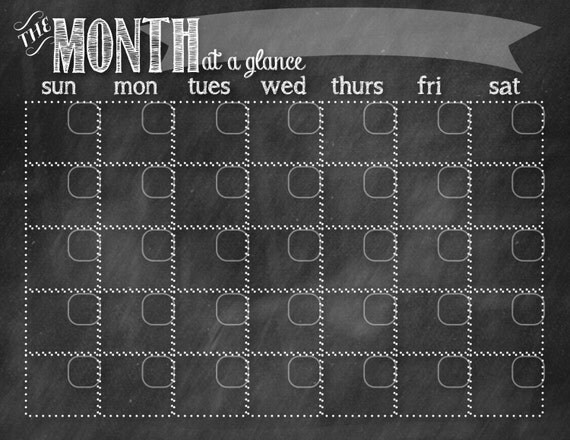 Blank Calendar Hobby Lobby : Chalkboard calendar black instant download