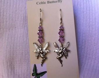 Lilac sterling silver pierced fairy earrings.