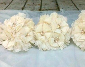 Rustic Wedding Bouquet, Vintage, Lace, Ivory, White, Pearl Cream, Romantic, pearls, Fabric Flower Bouquet, weddings