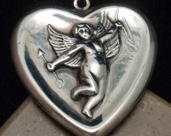 Oversized Heart Charm with Cupid Vintage Sterling Silver