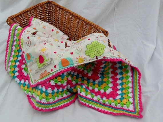 Crochet Baby Blanket, Baby Girl Elephant Parade Reversible Crochet Blanket, Granny Square Blanket