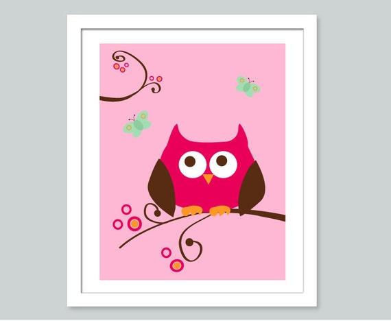Childrens Wall Decor Canvas : Items similar to canvas pink owl wall art nursery