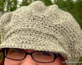 Hand Crochet Kate Middleton Slouchy Baker Boy Hat, Duchess of Cambridge Newsboy Brimmed Cap, Gifts for her