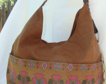 Suede like brown bag with native american accent pockets