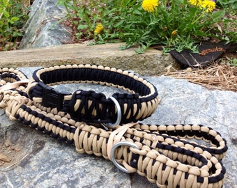 Combination regular collar and a dog leash, 3 in 1 550 paracord dog leash.
