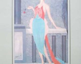 Rare 1983 Art Deco Abstract - vintage print -by Bernath A Chance Encounter 50cms x 100cms