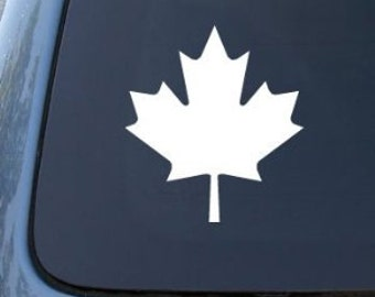 "Maple Leaf Canada 5"" Vinyl Decal Widow Sticker for Car, Truck, Motorcycle, Laptop, Ipad, Window, Wall, ETC"