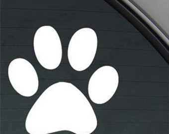 "DOG Paw Print 3.5"" Vinyl Decal Widow Sticker for Car, Truck, Motorcycle, Laptop, Ipad, Window, Wall, ETC"