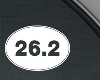 "26.2 Marathon Runner Euro Oval 5"" Vinyl Decal Widow Sticker for Car, Truck, Motorcycle, Laptop, Ipad, Window, Wall, ETC"
