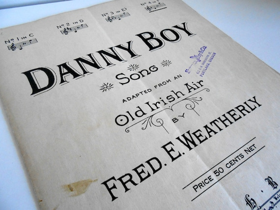 "Vintage Irish Sheet Music ""Danny Boy"", Old Irish Air by Fred E Weatherly, Piano and Voice"