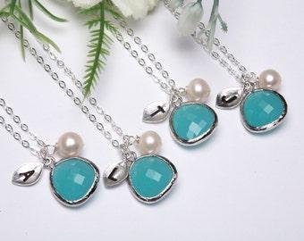15 OFF,Set of 5,PERSONALIZED INITIAL,Leaf initial,Initial Necklace,Stone in bezel,wedding jewelry,bridal jewelry,Aqua blue, Tiffany blue