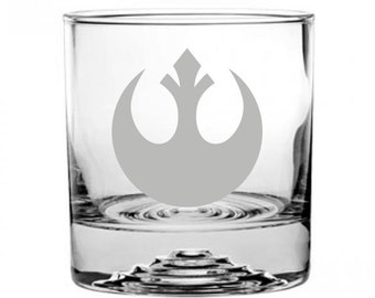 Star Wars Rebel Alliance Etched Rocks Glass Personalized