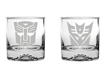 Transformers 1 Autobots and 1 Decepticons Etched Rocks Glasses
